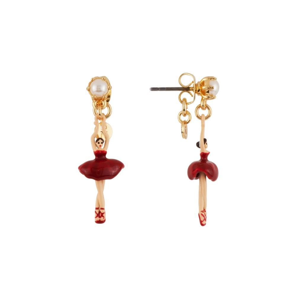LES NÉRÉIDES Mini Ballerina And Red Tutu Stud Earrings