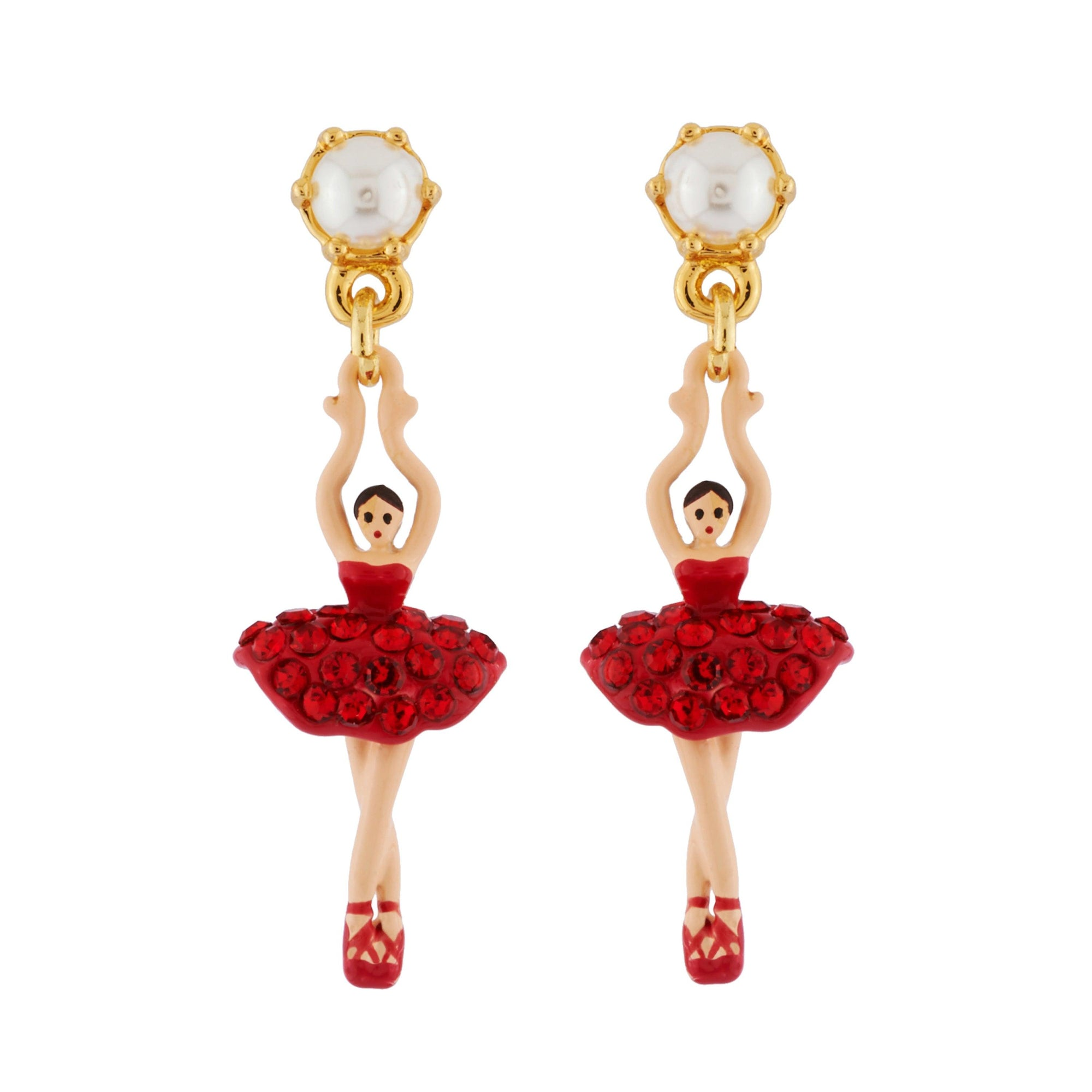 LES NÉRÉIDES Mini Ballerina And Red Crystals Tutu Stud Earrings