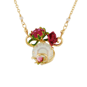 LES NÉRÉIDES Faceted crystals, rose and bud necklace