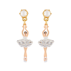 LES NÉRÉIDES Mini Ballerina And White Crystals Tutu Stud Earrings