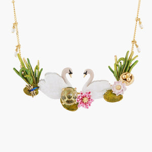 LES NÉRÉIDES Two swans in love among water lilies collar necklace