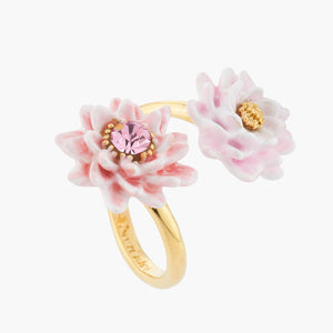 LES NÉRÉIDES Pink and golden water lilies adjustable ring
