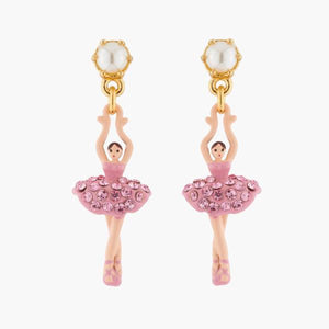 LES NÉRÉIDES Mini Ballerina And Pink Crystals Tutu Stud Earrings
