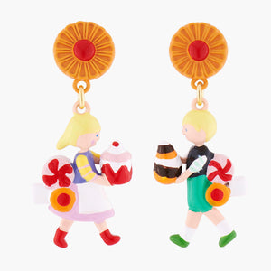 N2 BY LES NÉRÉIDES Hansel and gretel's sweets clip-on asymmetrical earrings