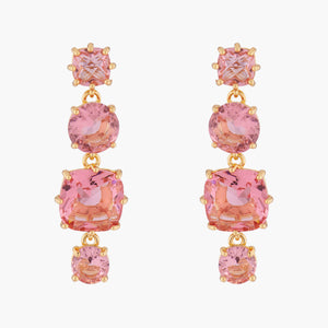 LES NÉRÉIDES La diamantine pink peach 4 stones stud earrings