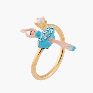 LES NÉRÉIDES Mini Ballerina And Aquamarine Crystals Tutu Adjustable Ring