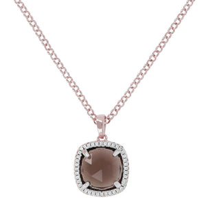 BRONZALLURE Cushion Quartz Pendant Necklace