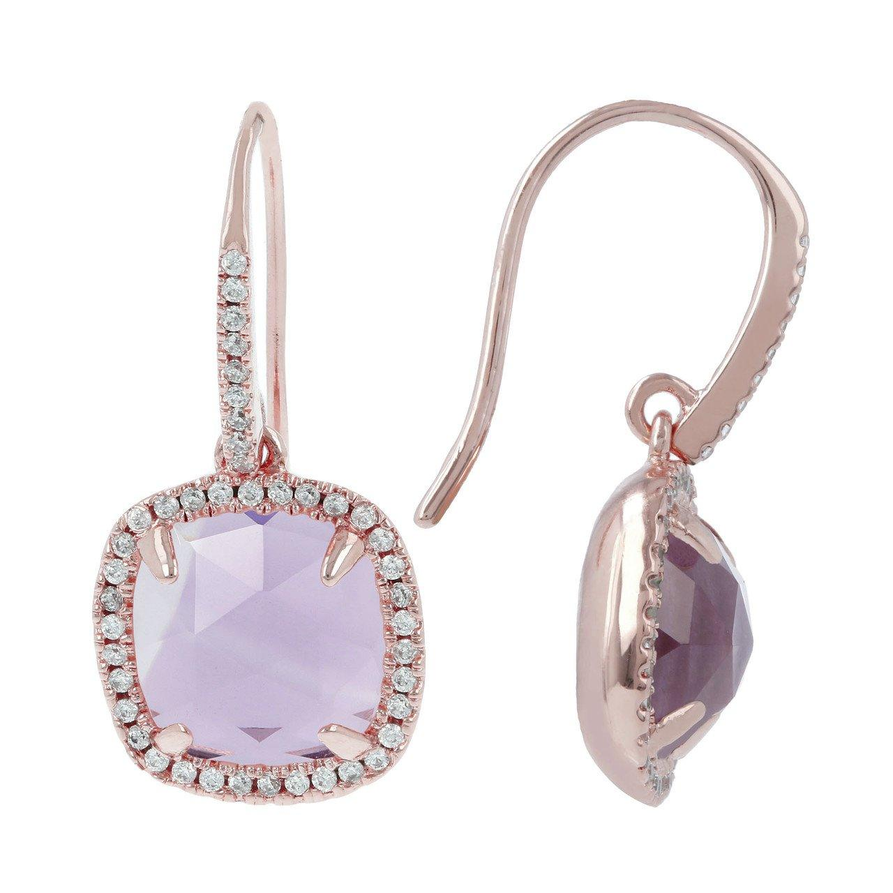 BRONZALLURE Cushion Cut CZ Stud Earrings (Amethyst)