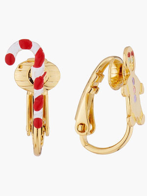 N2 BY LES NÉRÉIDES Barley sugar and gingerbread man clip-on asymmetrical earrings