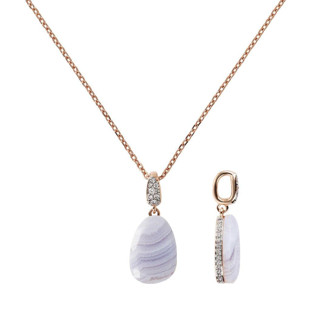 BRONZALLURE Collier Necklace with Drop Stone and Pave Pendant (Blue Lace Agate)