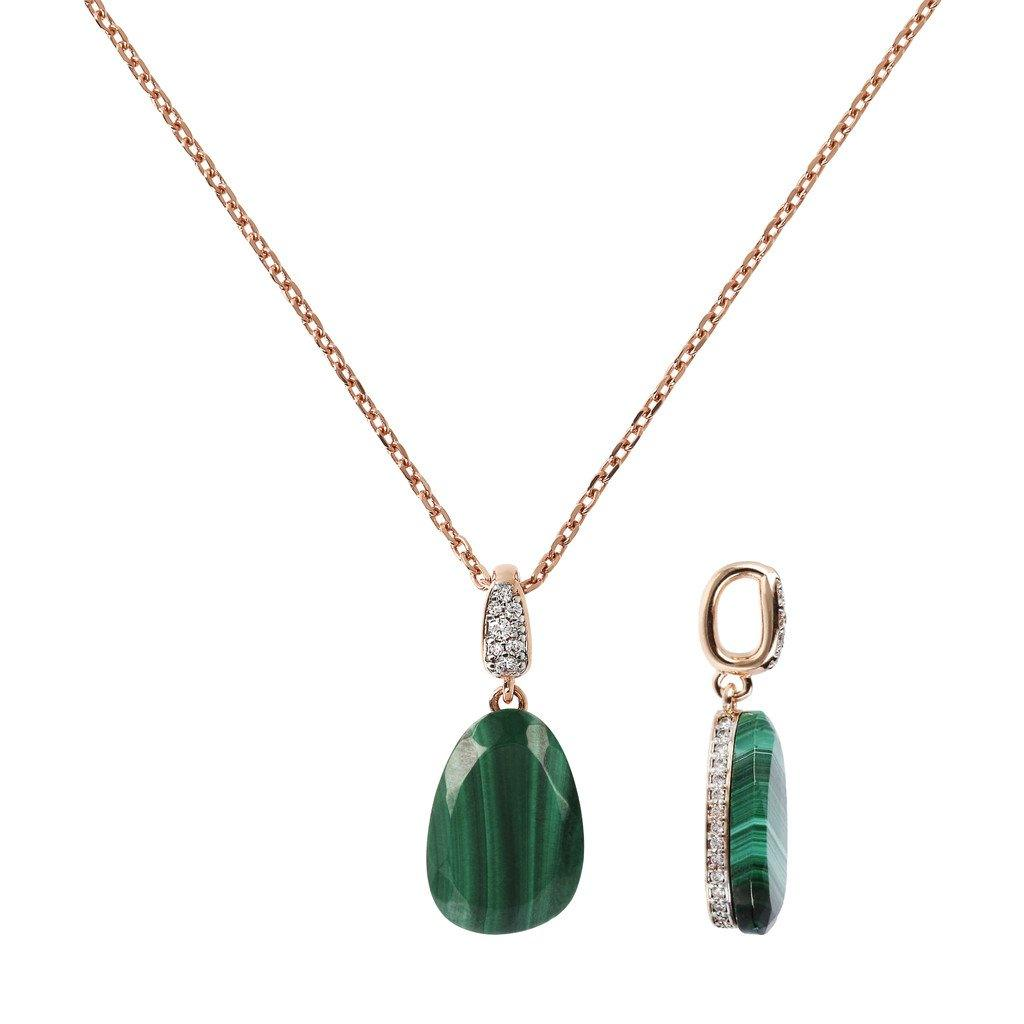 BRONZALLURE Collier Necklace with Drop Stone and Pave Pendant (Green Malachite)
