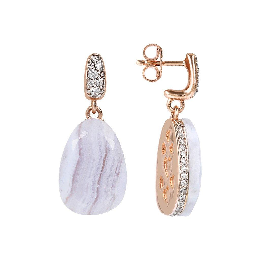 BRONZALLURE Drop Earrings with Natural Stone and CZ Pave (Blue Lace Agate)