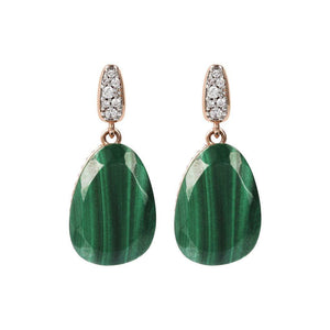 BRONZALLURE Drop Earrings with Natural Stone and CZ Pave (Green Malachite)