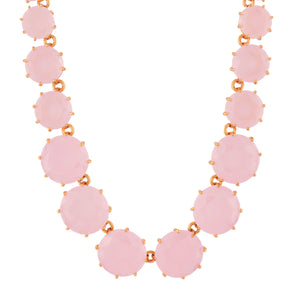 LES NÉRÉIDES Pink round stones and chain la diamantine long necklace