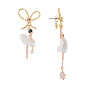LES NÉRÉIDES White Ballerina With Ribbon Asymmetrical Stud Earrings