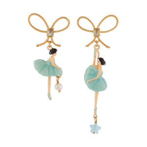 LES NÉRÉIDES Blue Ballerina With Ribbon Asymmetrical Stud Earrings
