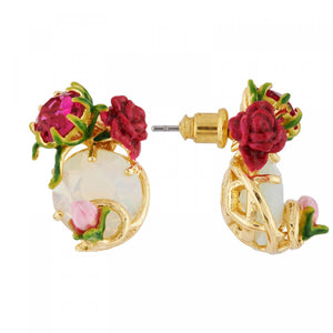 LES NÉRÉIDES Earrings with carved crystals, rose and bud