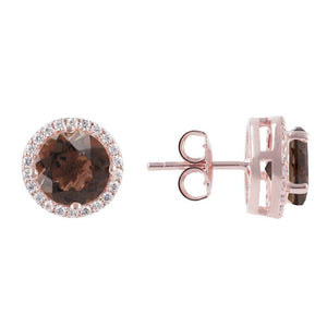 BRONZALLURE Gemstone Crown Earrings (Smoky Quartz)