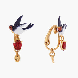 LES NÉRÉIDES Swallow And Heart Stud Earrings