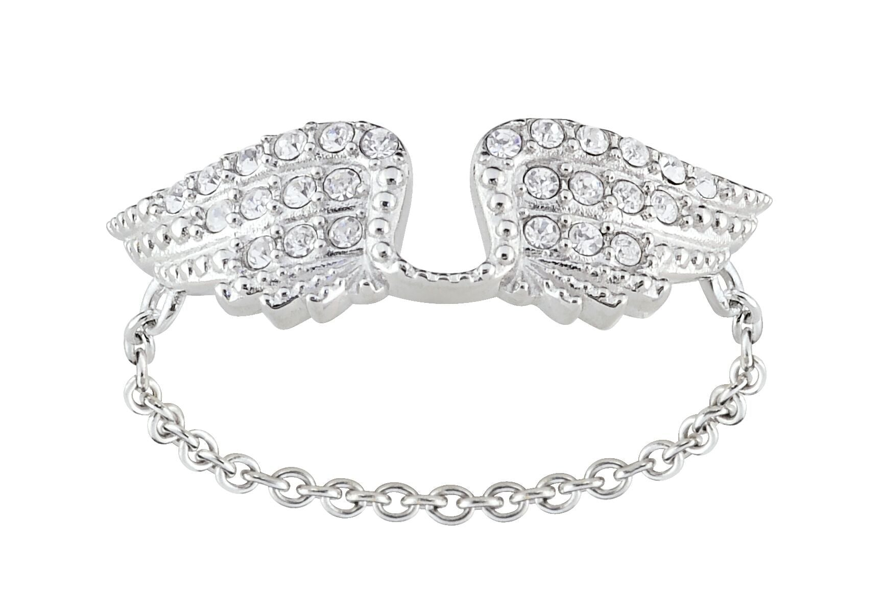 Double Wing Chain Silver Ring