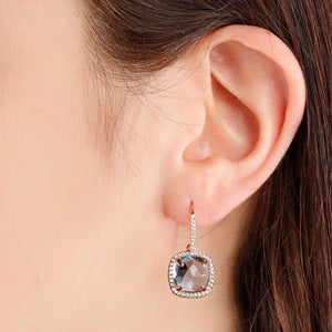 BRONZALLURE Cushion Cut CZ Stud Earrings (Clear Quartz)