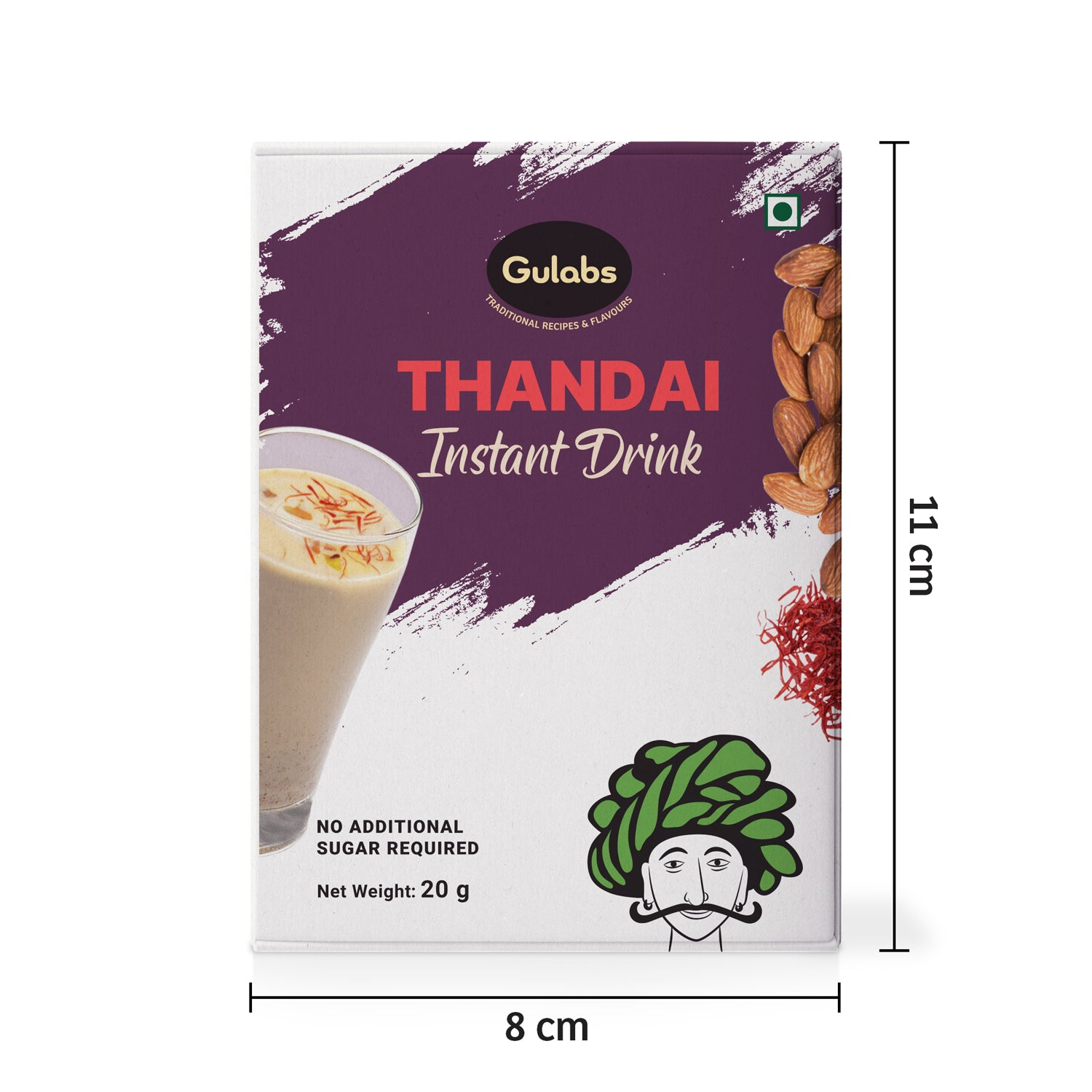 Thandai Instant drink pack front image with measurements