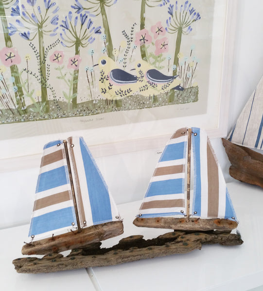 Driftwood and Fabric Boat By Merope Pease