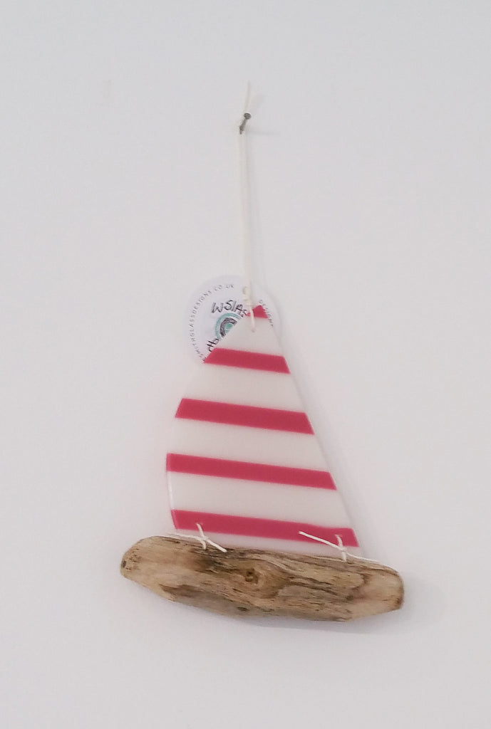 Handmade Glass and Driftwood Hanging Boat By Anne Smith W51AS14