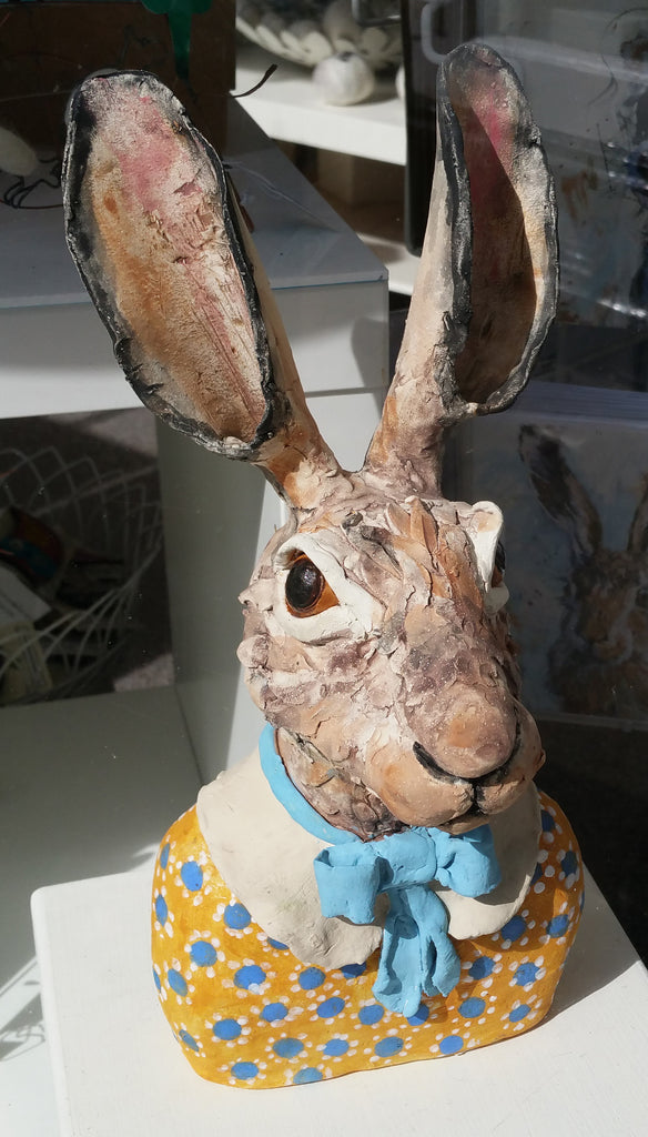Handmade Ceramic Hare Bust Sculpture By Louise Brown S130LB5