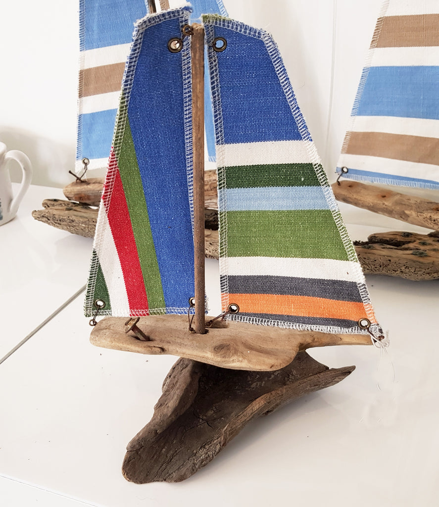 Driftwood and Fabric Boat By Merope Pease S109MP12