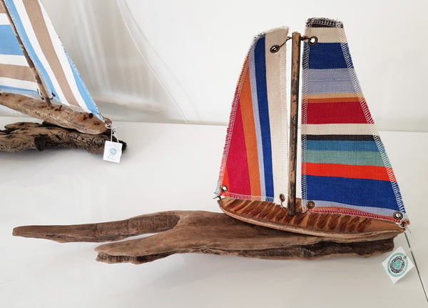 Driftwood and Fabric Boat By Merope Pease S109MP16