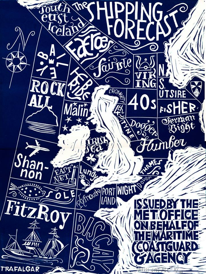 The Shipping Forecast Tea Towel By Sally Castle