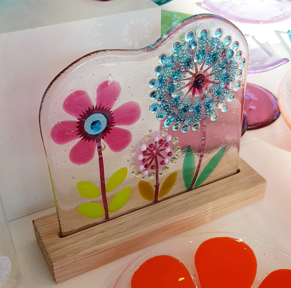 Glass Botanical Flowers On Oak by Blue Shed Design S163BSD33