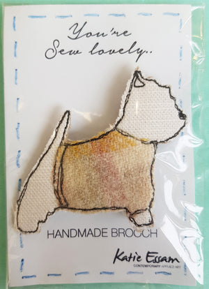 Free Motion Embroidery Fabric Brooch by Katie Essam S10KE7