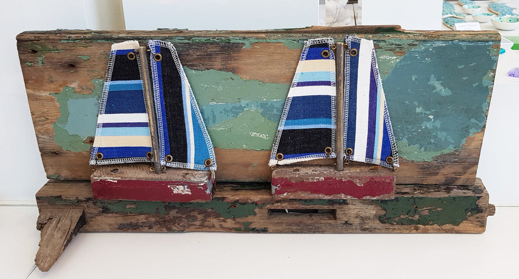 Driftwood and Fabric Boat on Boat Wreck Pieces By Merope Pease S109MP24