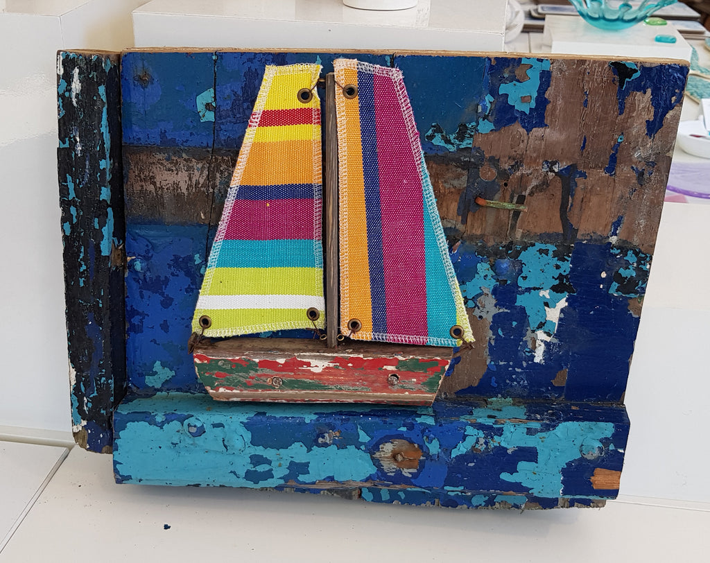 Driftwood and Fabric Boat on Boat Wreck Pieces By Merope Pease S109MP22