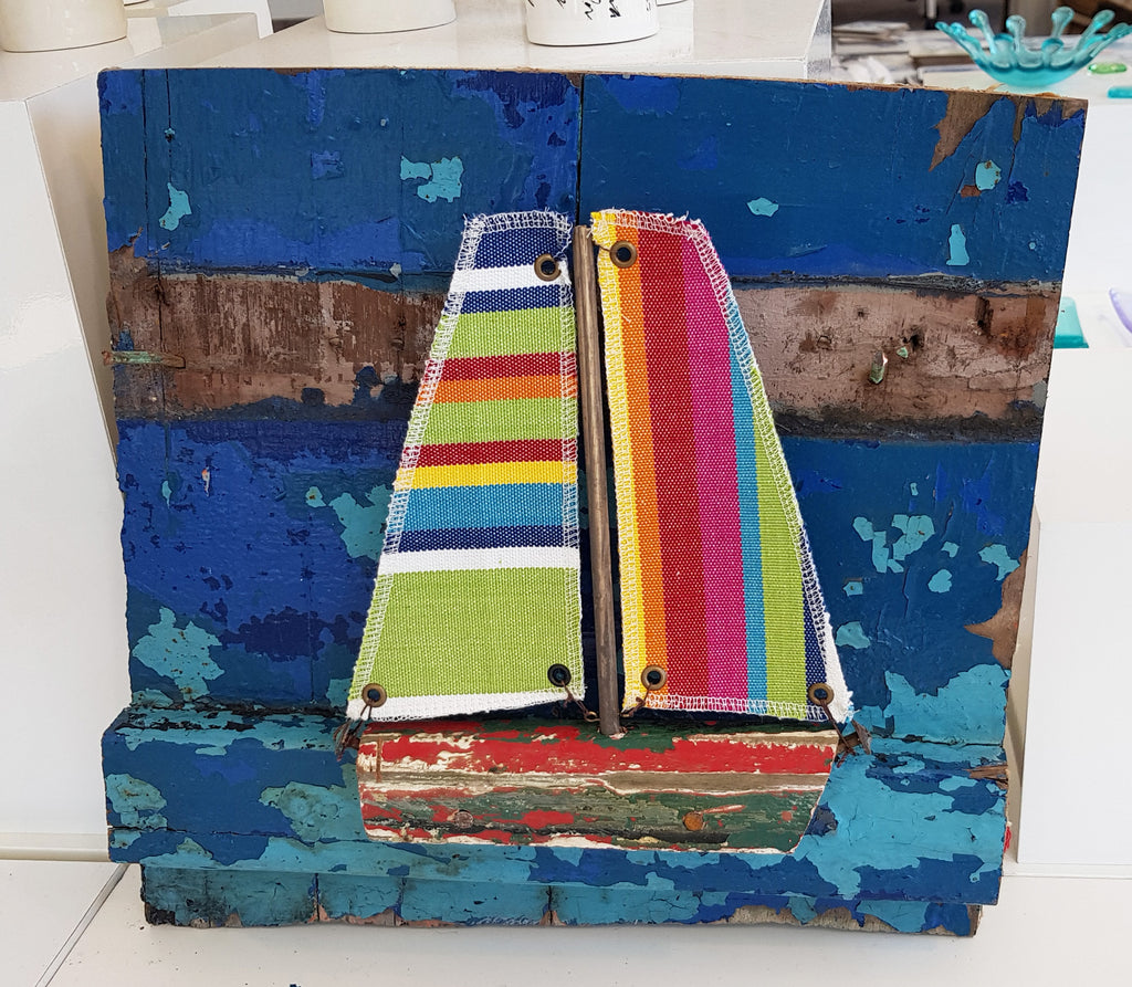 Driftwood and Fabric Boat on Boat Wreck Pieces By Merope Pease S109MP23
