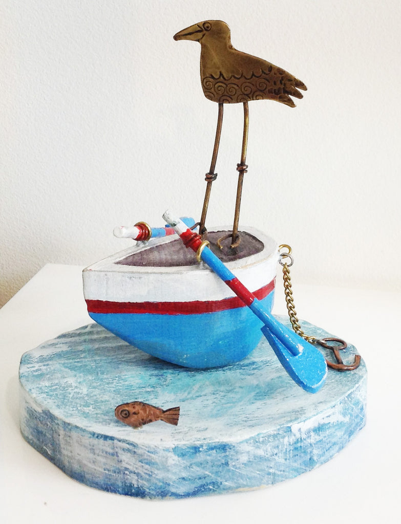 Gull On A Row Boat By Frances Noon