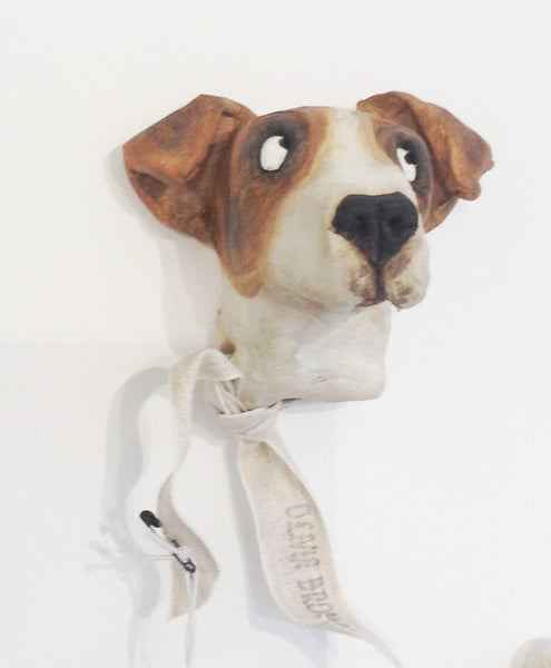 Ceramic Jack Russell dog head by Olivia Brown