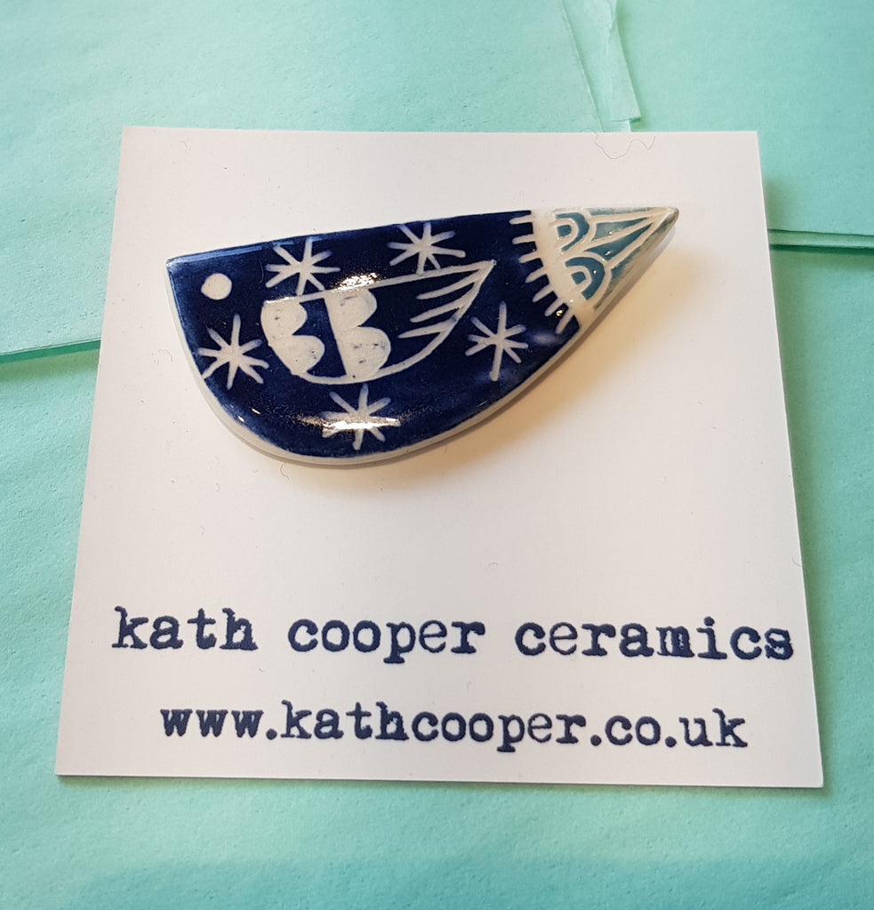 Handmade Ceramic Brooch by Kath Cooper S100KC15