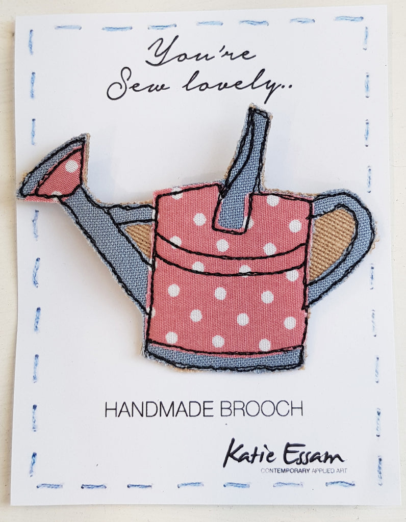 Free Motion Embroidery Fabric Brooch by Katie Essam