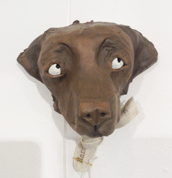 Ceramic Chocoalte Labrador dog head by Olivia Brown W36OB4