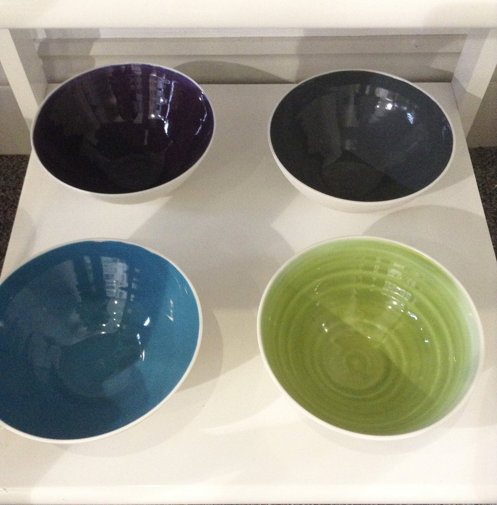 Handmade green and cream bowl by Penny Spooner
