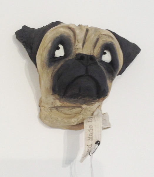 Ceramic Pug dog head by Olivia Brown W36OB8