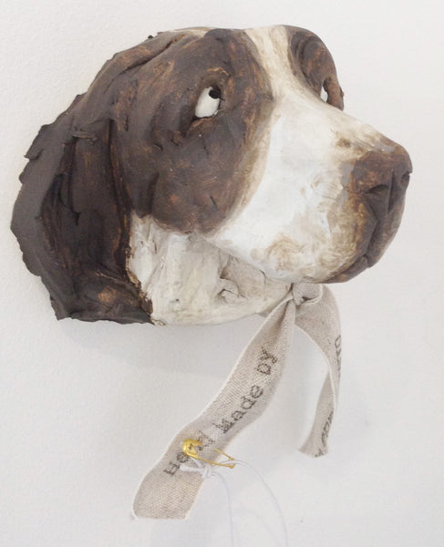 Ceramic Springer Spaniel dog head by Olivia Brown W36OB3