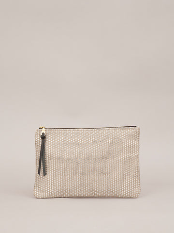 Medium Pouch - Silver Woven Fabric