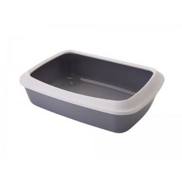 "72110 NOBBY Cat toilet (Litter Box) with edge ""Iriz"" grey 50 x 37 x 14 cm - PetsOffice"