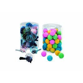72206 NOBBY Coloured grid ball with fur mouse 24 pieces - PetsOffice