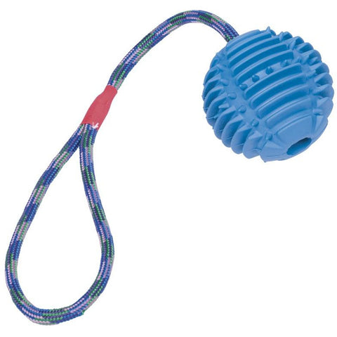 62383 NOBBY Rubber ball with rope ball: 7,5 cm; rope: 30 cm - PetsOffice