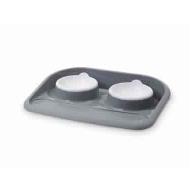 "72132 NOBBY Dinner Serving Tray ""Butler"" grey 2 x 300 ml - PetsOffice"
